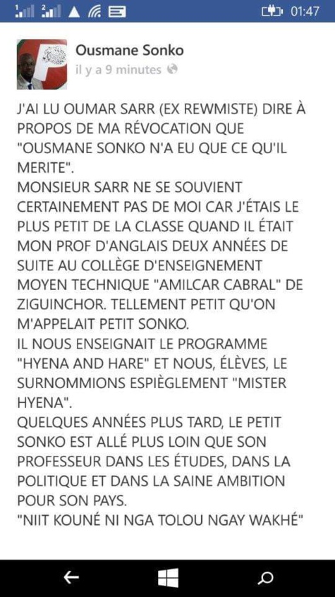 Sonko nargue Oumar Sarr