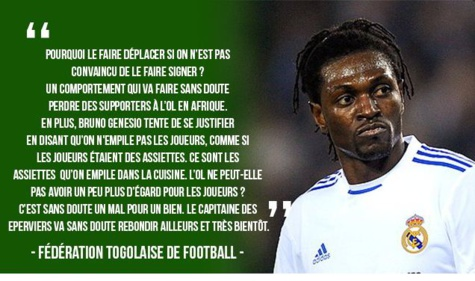 "«Lyon a manqué de respect à Emmanuel Adébayor"", selon la fédération togolaise de football."