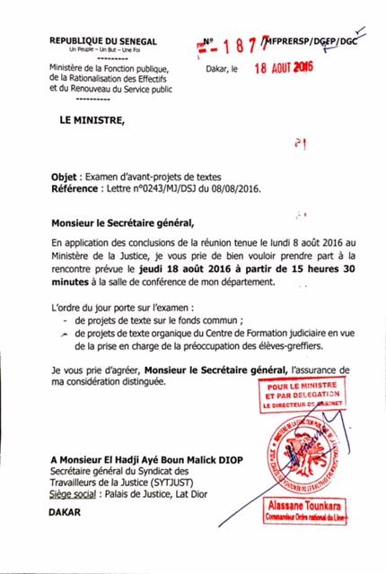 Le Syndicat des Travailleurs de la Justice dément le ministre et le DG de la Fonction Publique...