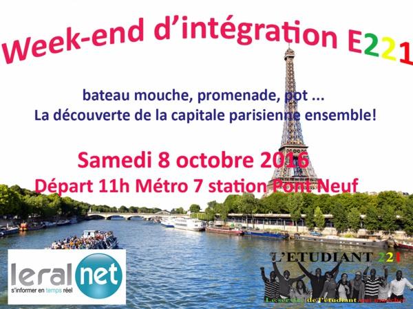 Week-end d'intégration de l'association E221 : Un programme alléchant prévu pour le samedi 08 octobre prochain