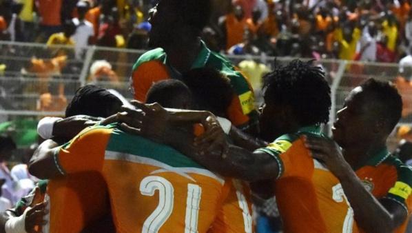 La joie des Ivoiriens vainqueurs du Mali 3-1 ISSOUF SANOGO / AFP