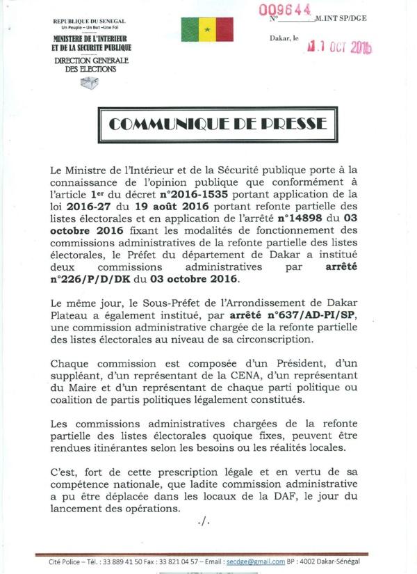 Le Communiqué du ministère de l'Intérieur et de la Sécurité Publique.