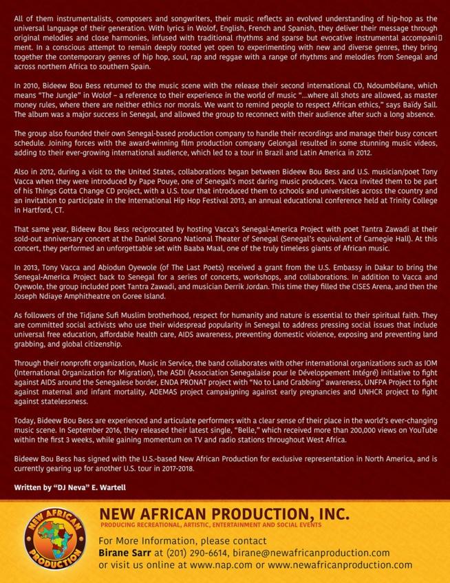 Bidew Bou Bess signe un partenariat avec le Label Américain NEW AFRICAN PRODUCTION INC