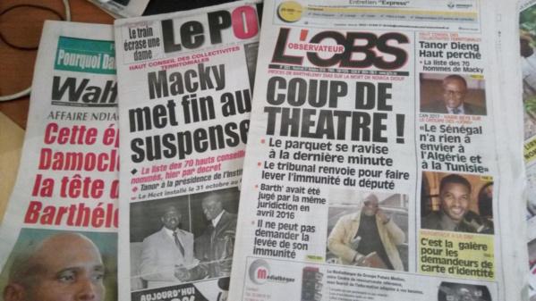 La une des journaux du vendredi 21 octobre 2016 : Le renvoi du procès Barthélémy Dias et la nomination de Tanor à la tête du HCCT à la de l'actualité