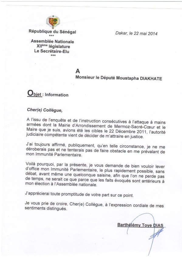 Les lettres de Barthélémy Dias de 2014  au Président Moustapha Niasse et aux députés Moustapha Diakhaté, Hélène Tine, Seydina Fall, Cheikh Seck et Seynabou Wade...