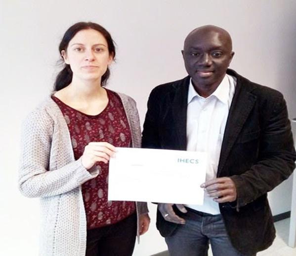Jamil Thiam avec Delphine Reuter, Coordinatrice des formations en journalisme IHECS