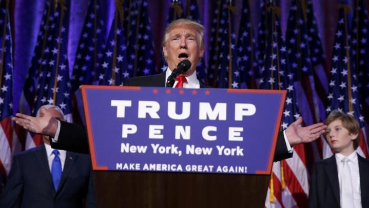 Donald Trump lors de son discours de victoire ce 9 novembre 2016 à New York