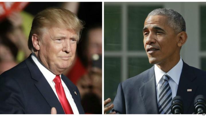 Le président sortant des Etats-Unis Barack Obama et son remplaçant Donald Trump.