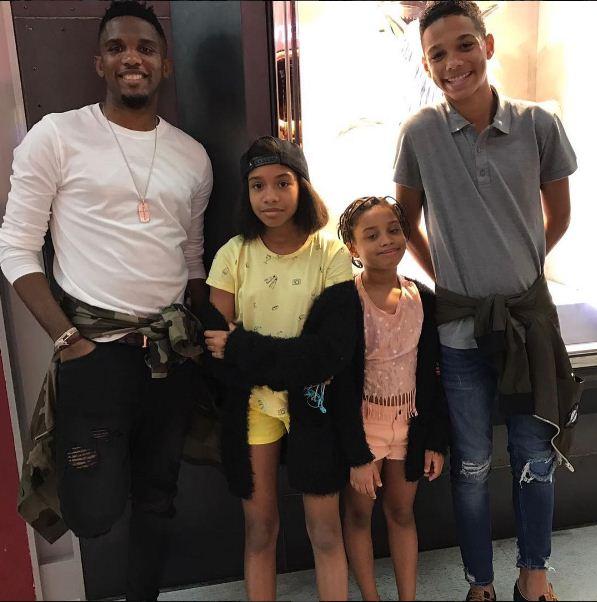 Samuel Etoo et ses enfants