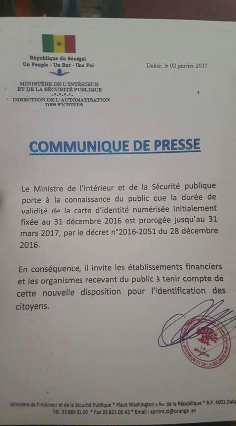 Les cartes d'identités nationales devant expirer le 31 décembre 2016 seront valables jusqu'au 31 mars 2017, par décret