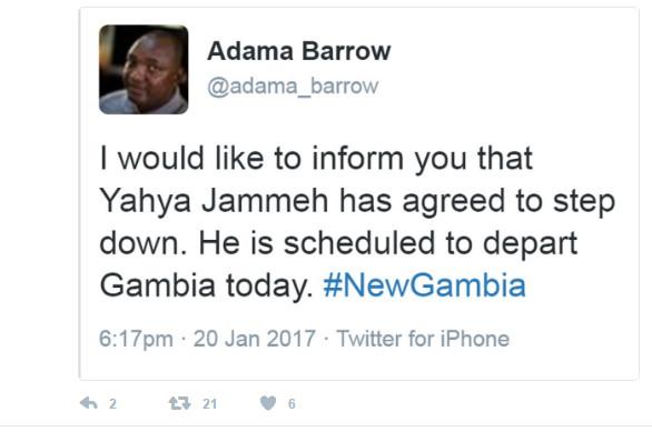 URGENT Gambie: le Président Adama Barrow confirme, sur son compte Twitter, le départ de Jammeh dès ce soir