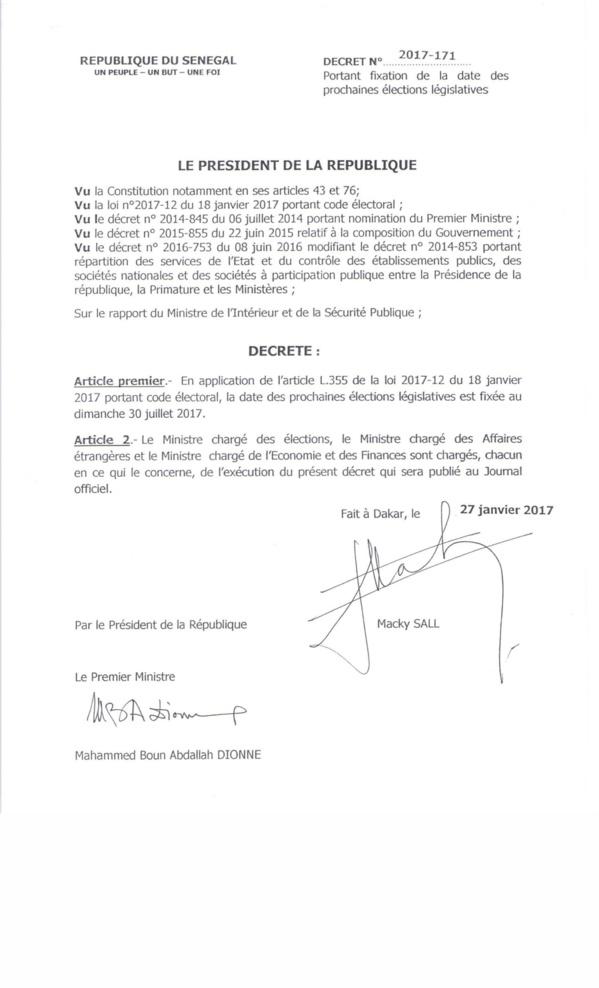 Urgent: les élections législatives se dérouleront le 30 juillet 2017 (Décret)