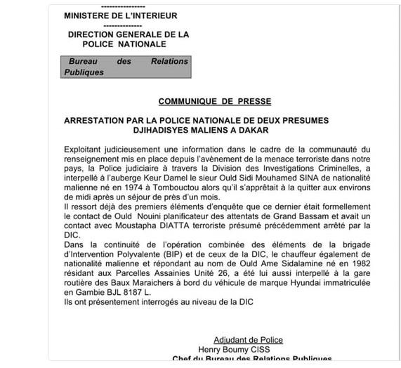 La DIC arrête 2 présumés djihadistes maliens à Dakar — Attaque Grand Bassam