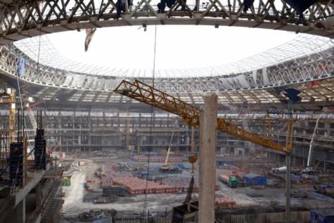 Le stade de Moscou en travaux. (C. Calais/L'Equipe)