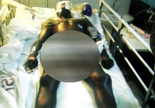 Cherif Ndao sur son lit d'hôpital , peu avant sa mort