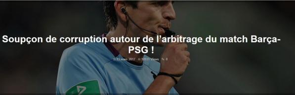 Soupçons de corruption autour de l'arbitrage du match Barça-PSG !
