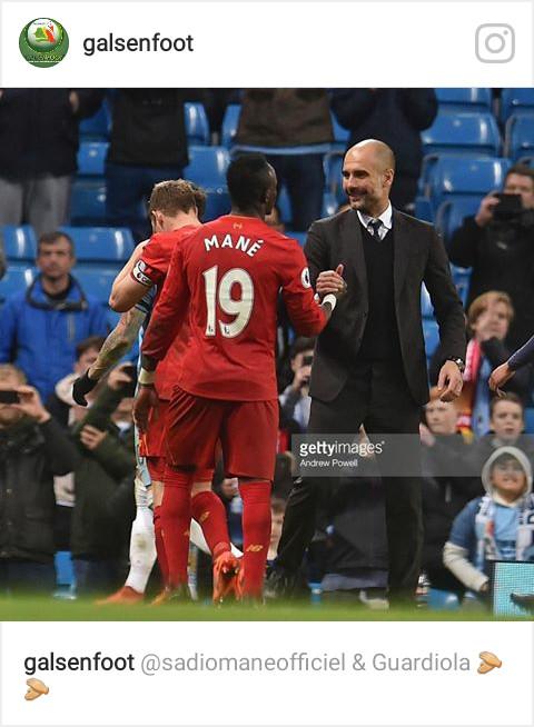 "Pep Guardiola à Sadio mané à le match City/Liverpool: ""Super"""
