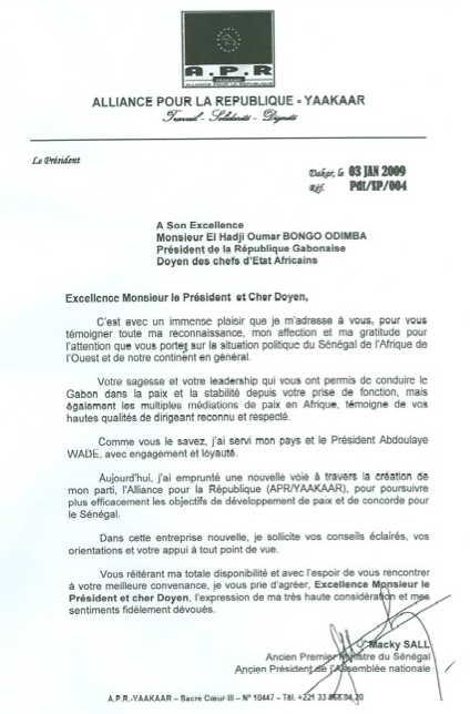 Le 3 janvier, Macky Sall, ex Premier ministre du Sénégal, demande de l'aide à Omar Bongo