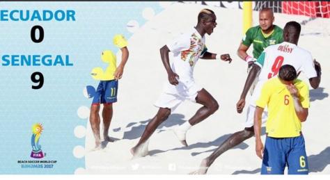 """Les """"Lions"""" ont étrillé l'Equateur pour leur entrée en lice au Mondial de Beach soccer (9-0), aux Bahamas"""