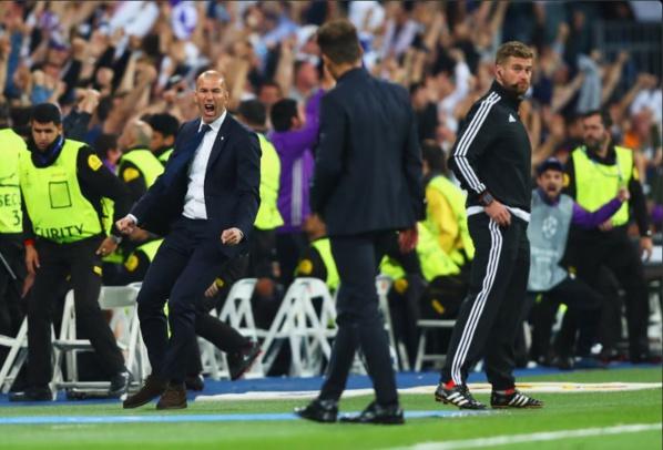 Zinedine Zidane après la victoire face à l'Atlético en demi-finale aller de la Ligue des Champions