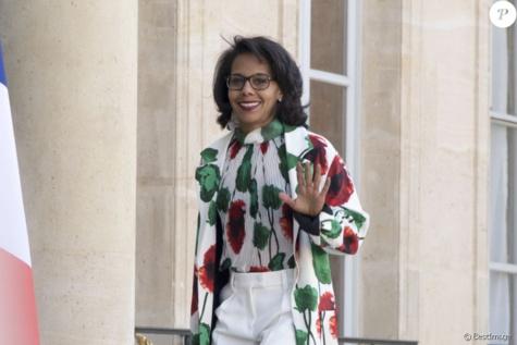 Audrey Pulvar à l'Elysée lors de la remise de l'insigne de Commandeur de la Légion d'Honneur à B. Gates et sa femme Melinda. Paris, le 21 avril 2017. © Pierre Perusseau/Bestimage