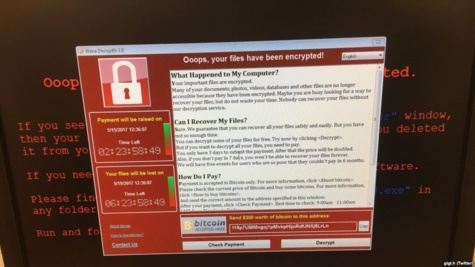 Capture d'ecran d'un message presume de ransomware, le 12 mai 2017.