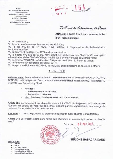 Document : Rassemblement du 19 mai de Manko Taxawu Senegaal, l'arrêté préfectoral fixe les règles du jeu