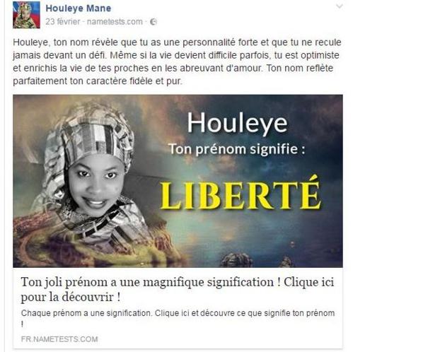 Le dernier message de Oulèye Mané avant son arrestation sur Facebook