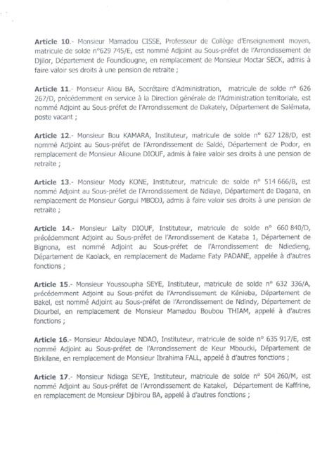 Décret 2017-1117 portant nomination Adjoints au Sous-préfets