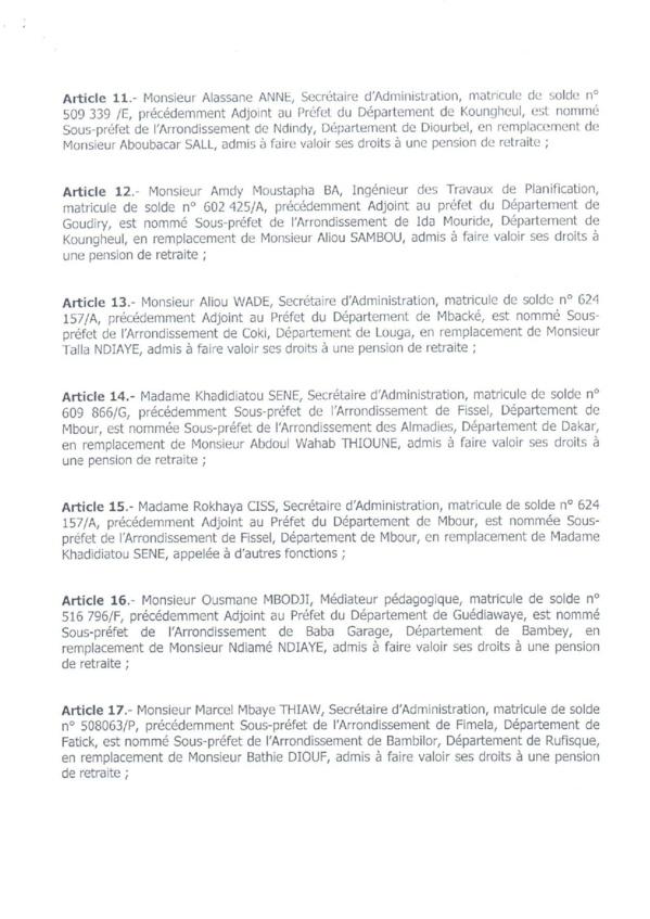 Décret 2017-1175 portant nomination Sous-Préfets