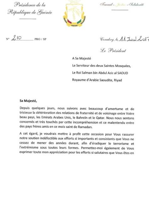 Crise diplomatique au Moyen-Orient : Alpha Condé offre sa médiation dans une lettre adressée au Serviteur des deux Saintes Mosquées saoudiennes