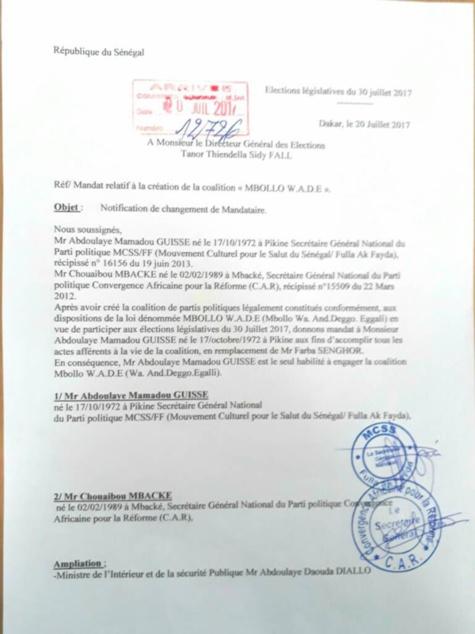 Coup de théâtre : Farba Senghor destitué de la tête de la coalition « Mbollo Wade »: (Document)