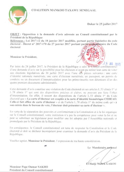 Législatives : Manko Taxawu Senegaal contre-attaque Macky Sall auprès du Conseil constitutionnel