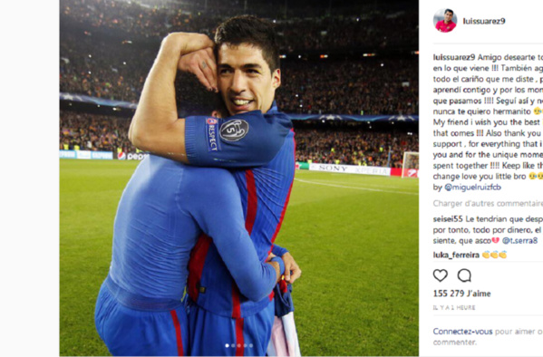 Le message d'adieu touchant de Suarez à Neymar