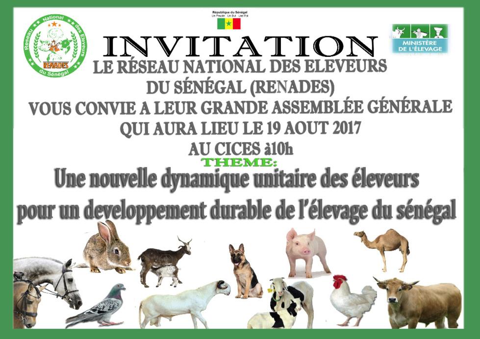 Le Réseau National des Éleveurs du Sénégal (RENADES) vous convie à leur grande assemblée génégarale qui aura lieu le 19 août au CICES à 10h