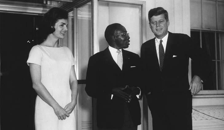 Photos : Léopold Sédar Senghor avec John et Jackie Kennedy...