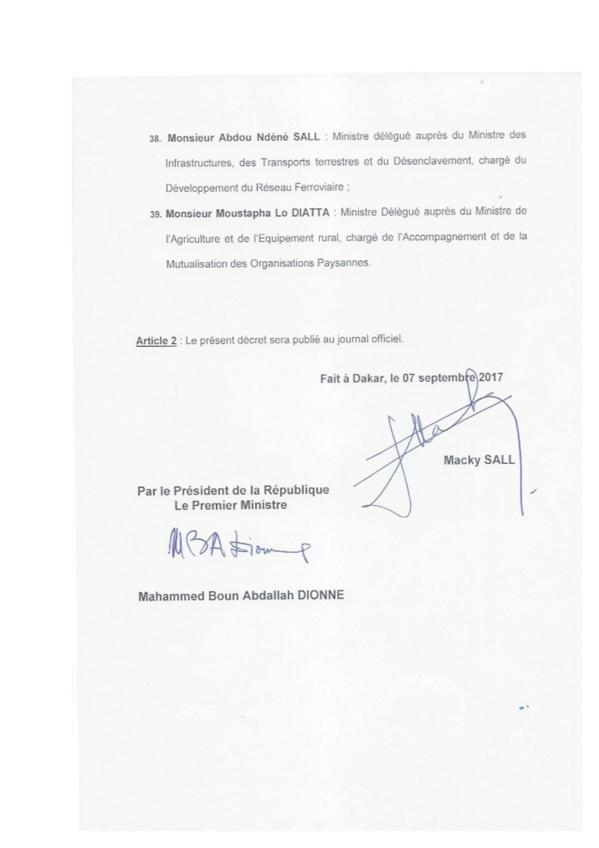 Voici la liste du nouveau gouvernement du Sénégal