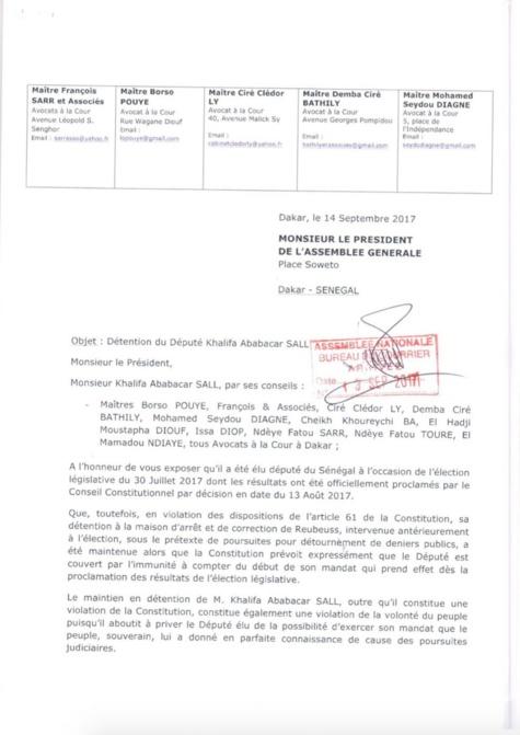 Khalifa Sall écrit au président de l'Assemblée nationale et au président de l'Assemblée générale (Documents)