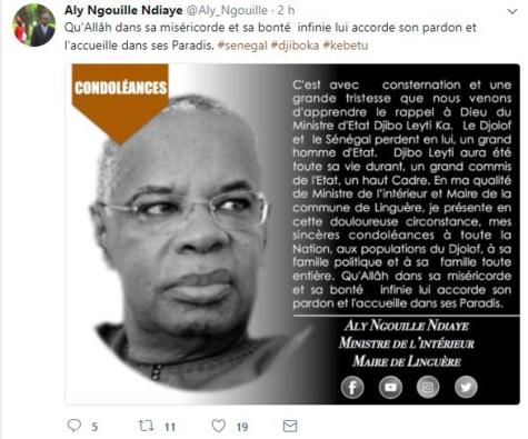 """Aly Ngouille Ndiaye : """"Le Djolof et le Sénégal ont perdu un grand homme d'Etat"""