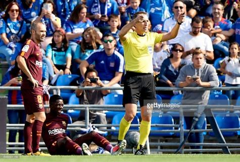 Photos : Ousmane Dembélé, l'attaquant sénégalais du FC Barcelone, blessé lors du match contre Getafe
