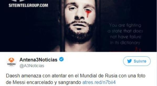 Coupe du monde 2018 : Daech menace le Mondial avec un photomontage de Messi emprisonné et en sang
