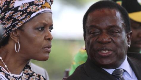 Grace Mugabe aux côtés de Emmerson Mnangawa, alors vice-président (février 2016) à une réunion du Zanu-PF
