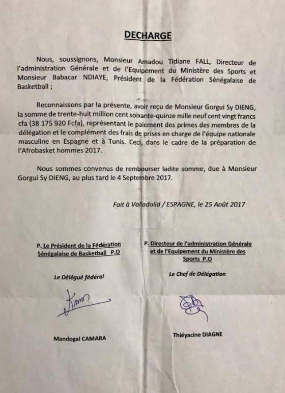 Gorgui Sy Dieng réclame au ministère des Sports et à la Fédération, ses 38.000.000 F CFA