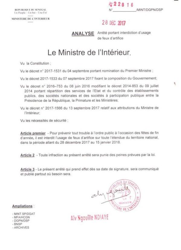 Pour prévenir tout trouble à l'ordre public : Les feux d'artifice interdits sur toute l'étendue du territoire du 28 au 15 Janvier prochain