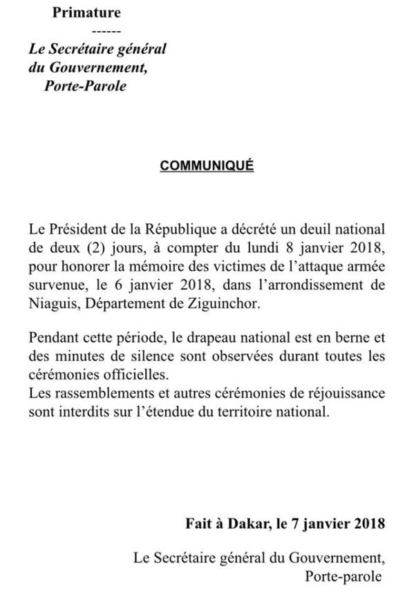 Massacre de Ziguinchor: Le Président de la République a décrété un deuil national de 2 jours à compter du lundi 08 janvier