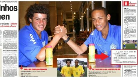 Quand Neymar et Coutinho rêvaient du Real Madrid