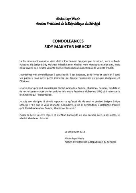 Disparition de Cheikh Sidy Makhtar Mbacké: Me Wade présente ses condoléances et envoie une délégation à Touba