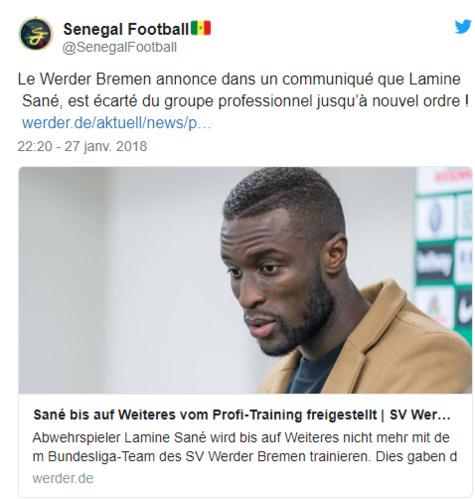 Werder de Brême : Lamine Sané écarté du groupe jusqu'à nouvel ordre pour s'être…