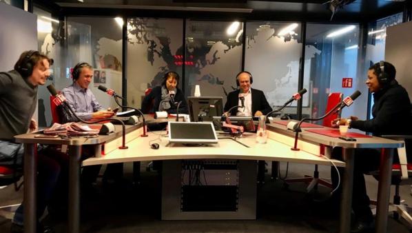 Autour d'Annie Gasnier pour le Café des Sports du 9 février: Matteo Cioffi, Xavier Barret, Alejandro Valente et Rémy Ngono.