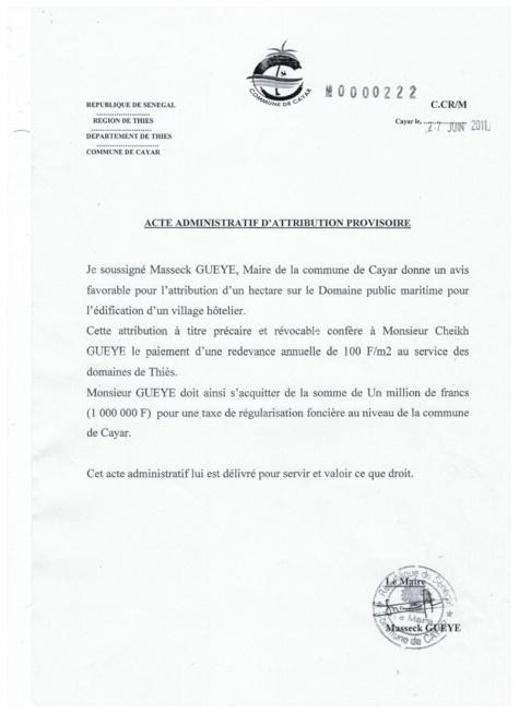 """EXCLUSIF - Bradage foncier à Cayar : le promoteur immobilier Cheikh Guèye dément et «enfonce» Yankhoba Diattara : """"Sène deal mo claté"""""""
